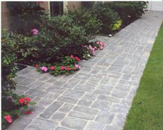 Stamped Concrete Patio Colors Front Walkway New Ideas Concrete Patios, Stamped Concrete Walkway, Concrete Pathway, Stamped Concrete Patterns, Concrete Design, Cobblestone Patio, Front Walkway, Paver Walkway, Entry Way Design