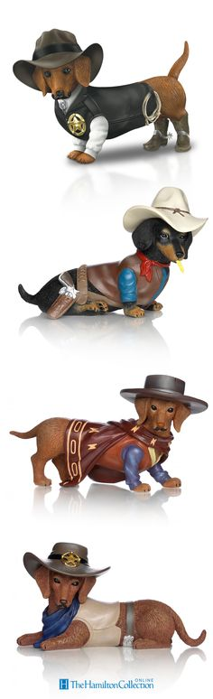 These adorable Dachshunds are taking the law into their own paws! Dressed head to toe in sheriff's gear - they make serving justice look too adorable! Handcrafted and hand-painted, these dachshund figurines are sure to leave a long-lasting paw-print on your heart: