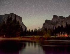 There is a lot of life in the Valley at night. See the climbers headlamps on El Cap? by chrisburkard