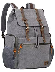 Inch Laptop Canvas Backpack Unisex Vintage Leather Casual Rucksack School  College Bags Satchel Bookbag Large Capacity Hiking Travel Rucksack Business  ... 0f6d74f306f4f