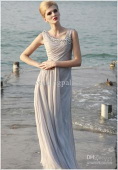2013 Glamorus Crystal Off-shoulder Chiffon Gray pageant dresses evening party gown prom dress