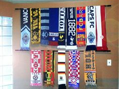 Soccer (football) sport scarf wall display diy with curtain rod