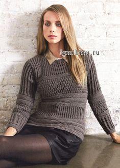 Lady style! Серо-коричневый пуловер из полупатентного узора. Спицы