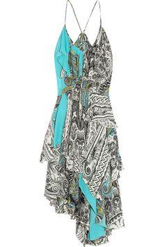 EtroRuffled printed silk crepe de chine dress #Etro