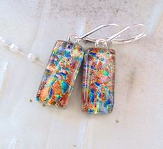 Fused Dichroic Glass Earrings, Dangle, Fused Glass Jewelry, Copper, Brown, Lever Back