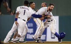 VIDEO: Texas Rangers celebrate a walk-off win #nevereverquit