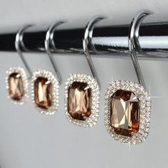 Buy Shower Curtain Hooks Rings - Luxurious Decorative Crystal Gems Bling Rhinestones Bathroom Bath Gift Set Women Girls Decor at Discounted Prices ✓ FREE DELIVERY possible on eligible purchases. Bling Bathroom, Bathroom Bath, Bathroom Shower Curtains, Bathrooms, Bathroom Ideas, Glitter Shower Curtain, Shower Curtain Rings, String Lanterns, Bad Set
