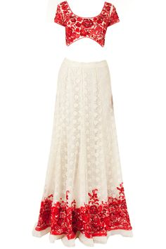 Red and off white bush lehenga available only at Pernia's Pop-Up Shop.