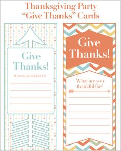 """Free printable: Thanksgiving """"Give Thanks"""" cards"""