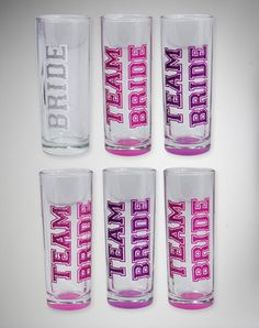Team Bride Glitter Shooters 6 Pk