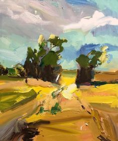 """#Victoria is known for its gold fields. They discovered gold there. I discovered a different gold. Fields of gold. Just as precious. """"Remembered Landscape at Kinglake"""", 61X75cm. #landscapepainting #artoftheday #paint #gallery #abstractexpressionist #art  #onlineart"""
