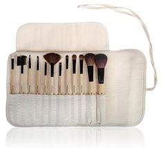 SHANY Professional 12 Piece Vegan Cosmetics Bamboo Brush Set with Vegan Microfiber Rolling Pouch, Vegan Gal - SHANY