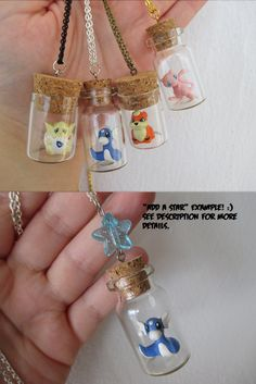 Pokémon Necklace - MEW, Growlithe, Dratini & Togepi - TOYS in a Bottle -Pokémon bottle necklaces Pokemon Jewelry, Pokemon Necklace, Oc Pokemon, Pokemon Craft, Pokemon Diys, Bottle Charms, Bottle Necklace, Bottle Jewelry, Diy Necklace