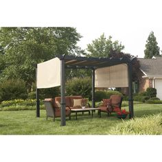Shop Garden Treasures 7.6-ft x 10-ft x 10-ft Matte Black Powder Steel Freestanding Pergola at Lowes.com