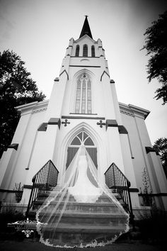 bride on steps, bride outside church, black and white bridal portrait
