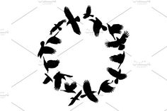 Crows in a circle vector silhouette ,You can find Ravens and more on our website.Crows in a circle vector silhouette , Eps Vector, Vector File, Vector Graphics, Presentation Design Template, Digital Image, Graphic Illustration, Crows, Cool Designs, Silhouette