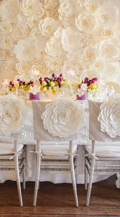 A big set of paper flowers backdrop