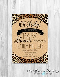Oh Baby Animal Print Baby Shower Invitation - Brown Cheetah Leopard Print - DIY - Printable