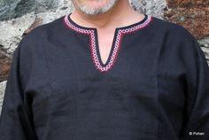 Pánske ľanové košele | Horislaw čierny s výšivkou | Pohan, odevy z čistého ľanu, úžitkový textil ľanový