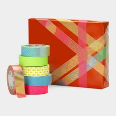 Washi Paper Masking Tape Gift Wrap tutorial