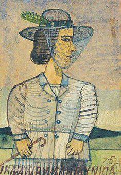 Krynicki Nikifor (Poland, 1895 - 1968) «Portret damy w kapeluszu»