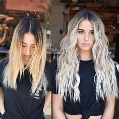 Silver to brunette balayage Blonde Hair Looks, Balayage Hair Blonde, Brown Blonde Hair, Platinum Blonde Hair, Blonde Hair With Dark Roots, Brown To Blonde Hair Before And After, Winter Blonde Hair, Bayalage, Cabelo Ombre Hair