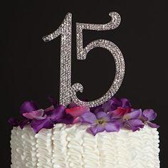 15 Cake Topper - Silver
