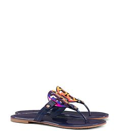 #ToryBurch Miller Sandal, Blue Patent Leather