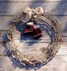 """Christmas Barbwire Wreath 18"""" © Rustic, Vintage, Beef, Cattle, Fences, Babwire, Rodeo, Gift, Weddings, Cowboy, Cowgirl, Fall, Neutral, Rusty, Western Home Decor by HorseShoeFever."""