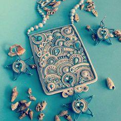 Soutache Pendant, Soutache Necklace, Beaded Jewelry, Handmade Jewelry, Passementerie, Paper Quilling, Silk Ribbon, Shibori, Beaded Embroidery
