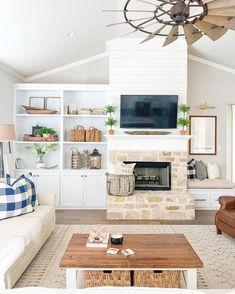 We're loving the rustic stone on that fireplace paired with shiplap!: Texas Sized Home) We're loving the rustic stone on that fireplace paired with shiplap!: Texas Sized Home) Built In Around Fireplace, Fireplace Built Ins, Home Fireplace, Living Room With Fireplace, Fireplace Design, Off Center Fireplace, Farmhouse Fireplace, Fireplace Ideas, Living Room Built Ins