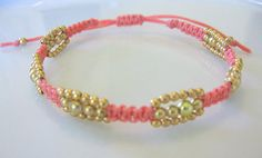 Coral Triple Delight Macrame Bracelet with by PetitCoeurJewelry