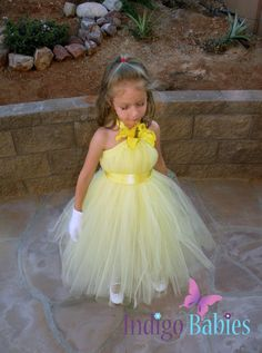 Tutu Dress, Flower Girl Dress, Pale Yellow Tulle, Yellow Ribbon, Yellow Lilly, Fabric Flower, Portrait Dress, Wedding, Flower Girl Dress