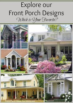 So many front porch designs for different types of homes. Oodles of information. See at Front-Porch-Ideas-and-More.com #porch #frontporchdesign