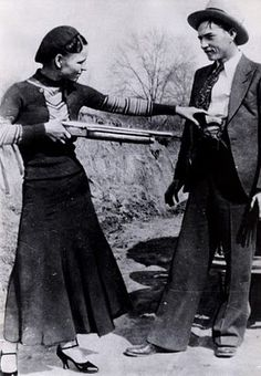 Bonnie Elizabeth Parker (1910 -May 23, 1934) and Clyde Chestnut Barrow (1909 – May 23, 1934).  Two well-known outlaws, robbers, and criminals who traveled the Central United States with their gang during the Great Depression. The gang is believed to have killed at least nine police officers & committed several civilian murders. The couple themselves were eventually ambushed and killed in Louisiana by law officers.