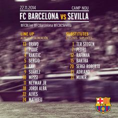 FC Barcelona vs Sevilla CF [LINE-UP   ALINEACIONS   ALINEACIONES]  13. Bravo, 3. Piqué, 4. Rakitic, 5. Sergio, 6. Xavi, 9. Suárez, 10. Messi, 11. Neymar, 16. Jordi Alba, 22. Alves, 24. Mathieu  Substitutes / Suplents / Suplentes: Ter Stegen, Bartra, Adriano, Sergi Roberto, Rafinha, Pedro, Munir  #FCBLive #FCBSevillaCF