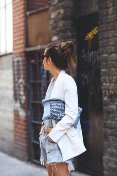 white blazer // jean shorts