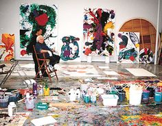 Sam Francis in studio.