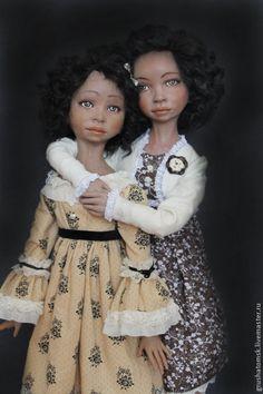 """Купить """"Сестренки"""" - коричневый, мулатка, сестрёнка, обнимашка, куклы ручной работы, ЛивингДолл, натуральный тресс"""