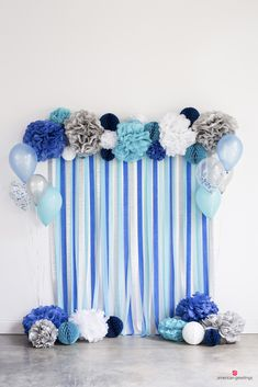 Blue, white, and silver photo backdrop made of tissue crepe paper and pom-poms--on mint greenWe've gathered our favorite blue birthday party ideas with our favorite blue party supplies. Quick and easy to celebrate a loved ones Ideas For W Baby Shower Cakes, Baby Shower Table, Baby Shower Parties, Shower Party, Blue Birthday Parties, Baby Birthday, Birthday Party Themes, Birthday Cake, Birthday Ideas
