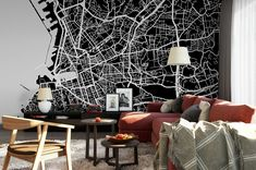 Custom City Map Mural Any City and Size Black and White Hallway Designs, Scandinavian Home, Wall Murals, Office Decor, How To Remove, Map, Black And White, Wallpaper, City