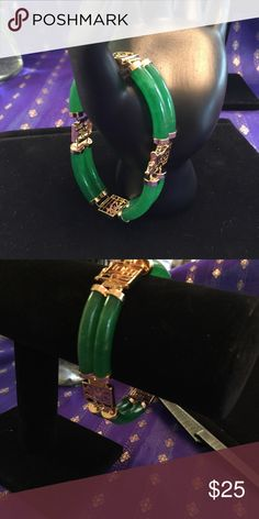 "Genuine Green Jade bracelet Genuine Green Jade bracelet 2 rows  8"" long. NWOT Jewelry Bracelets"
