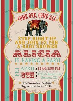 Circus Baby Shower Invitation  Circus by SweetBeeDesignShoppe, $12.00