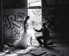 Graffiti isn't a very often thing to see in weddings, but it's gaining popularity first of all for engagement pics, and looks so cool for urban weddings! Wedding Theme Pictures, Wedding Pics, Wedding Themes, Wedding Couples, Wedding Ideas, Urban Engagement Photos, Engagement Pictures, Engagement Shoots, Wedding Spot