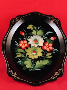 Vintage Russian hand painted tray