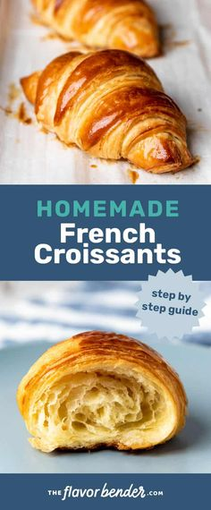 How to make homemade French croissants with detailed step by step instructions. Buttery crisp flaky croissants and how to perfect them! Best Breakfast Recipes, Brunch Recipes, Dinner Recipes, Breakfast Ideas, Dessert Recipes, Vegan Recipes Easy, Beef Recipes, Cooking Recipes, Easy Cooking