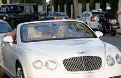 Heidi Klum in a white Bentley Continental GT Convertible