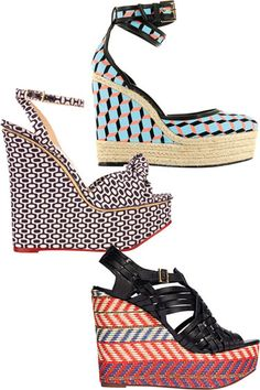 RESORTWEAR: Wedges Get Graphic - Pierre Hardy wedge, Capretto Shoes, Charlotte Olympia wedge, Tory Burch wedge.