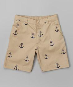 Look what I found on #zulily! Sophie & Sam Khaki Anchor Shorts - Boys by Sophie & Sam #zulilyfinds