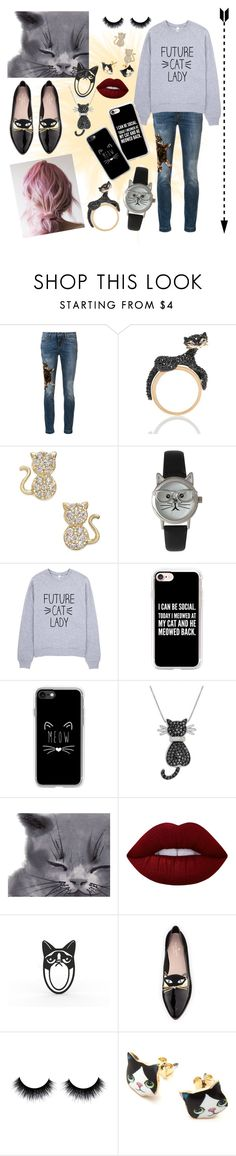 """Crazy Cat Lady 🐱"" by lara-fashion22 ❤ liked on Polyvore featuring Dolce&Gabbana, Kate Spade, Olivia Pratt, Casetify, Amanda Rose Collection, Lime Crime, cute, outfit and fashionset"
